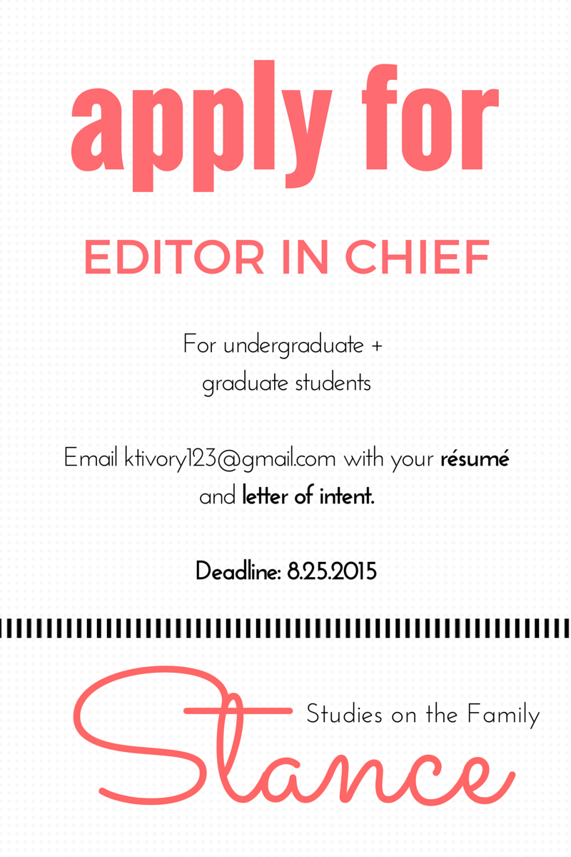 APPLY FOR EDITOR IN CHIEF POSITION