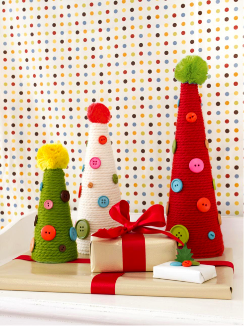 button and yarn trees